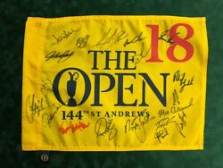 The Open Golf Flag Signed 19 Champions Winners Autograph Aftal Coa Miller Player
