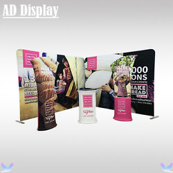 10ft8ft Advertising Fabric Backdrop Display With Banner Stand And Oval Table