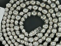 2.0 Ct. Tw Diamond 1 Row Rosary Mens Chain Sterling Silver White Gold Finish 34