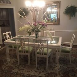 White Dining Room Table Glass Top 8 Chairs And Lighted China Closet 2,500.