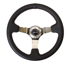 Nrg 350mm Deep Red Stitch Leather Steering Wheel Chrome 3 Spoke Center St-036ch