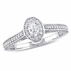 Amour 3/4 Ct Tw Diamond Raised Halo Engagement Ring In 14k White Gold