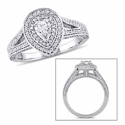 Amour 1 Ct Tw Diamond Raised Halo Engagement Ring In 14k White Gold