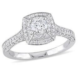 Amour 1 Ct Tw Diamond Double Halo Engagement Ring In 14k White Gold