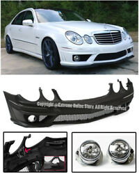 E63 Amg Style Front Bumper Cover Clear Fog For 07-09 Benz W211 E-class No Pdc
