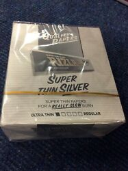 Full Box Of 50 Silver Rizla Kingsize Slim Super Thin Papers Reduced Andpound16.29