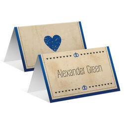 Wedding Place Name Table Cards - Blue Vintage Heart Retro Grunge Personalised