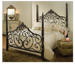 Elegant Queen Size Bed 4 Post Frame Victorian Decor Scroll Design Sophisticated