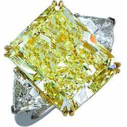 14.20 Carat GIA Fancy Light Yellow Diamond Three Stone Engagement Ring