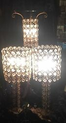 Stunning 1930's Hollywood Regency Gilt Iron And Prism Lamp And Lighted Table Set