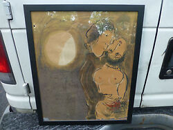 Couple En Ocre By Marc Chagall Lithograph Artist Proof Print 1950and039s 24 X 20