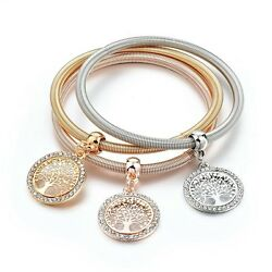 Tree Of Life Triple Gold Silver And Rose Gold Tones Charm Bracelet