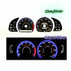 Black Indiglo Gauges Kit Glow Blue Reverse For 92-96 Toyota Camry 4-cylinders