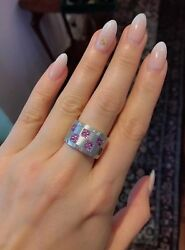 2.72 Ct Pink Sapphire And Diamond Checkerboard Ring In 18k White Gold -hm1846s2