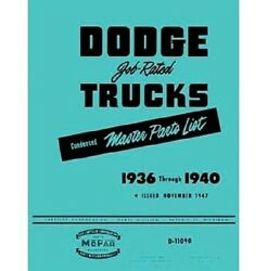 Factory Parts Manual For 1936-1940 Dodge And Plymouth Trucks