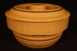 Rare Scalloped Brown And White Covered Bowl Yellow Ware Mint