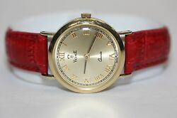 14k 585 Italy Yellow Gold Vicence Milor Watch 25mm Round Case With Red Strap