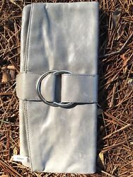 Gray Leather Hobo Clutch $30.00