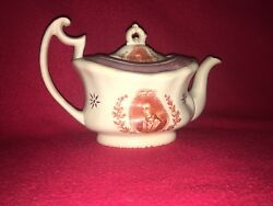 La2 Staffordshire Pink Luster Teapot General Lafayette Nations Guest 1820 Rare