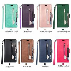 10pcs Multi-Function Flip Stand Wallet Leather Case w 9 Card Slots Zipper bag