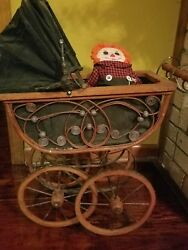 Victorian Vintage Ornate Baby Doll Wicker Carriage Stroller Buggy With Newborn