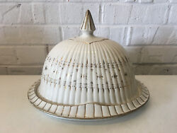 Antique Unusual German / Prussian Helmet Form Ceramic Covered Butter Dish