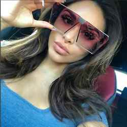 New Designer Oversized Sunglasses Color Lens Flat Top Square Frame Women Fashion