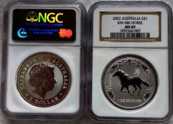2002 Australian 1 Ounce Silver Year Of The Horse Coin Certified Graded Ms-69