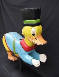 Antique Painted Wooden Childand039s Carousel Duck Ride