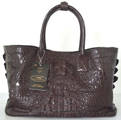 100 Genuine Crocodile Leather Handbag Bag Tote Hobo Brown