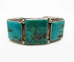 Old Vintage Easter Blue Turquoise Navajo Cuff Bracelet 1940's-50's!