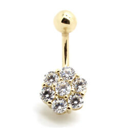 14K Yellow Gold Solitaire Spinning Cluster Belly Ring with Round CZ