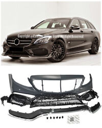 C63 AMG Style Front Bumper Cover Lip Trim For 15-Up W205 C205 C-Class With PDC