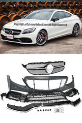 C63 Amg Style Front Bumper Cover Grille Trim For 15-up W205 C205 C-class W/ Pdc