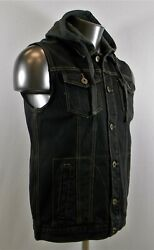 New Menand039s Cool Jeans Denim Vests Jackets With Hoodies - Black