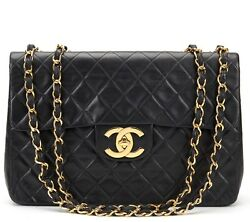 CHANEL BLACK QUILTED LAMBSKIN VINTAGE MAXI JUMBO XL FLAP BAG  HB631