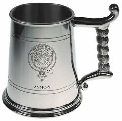Symon Crest Tankard With Rope Handle In Polished Pewter 1 Pint Capacity