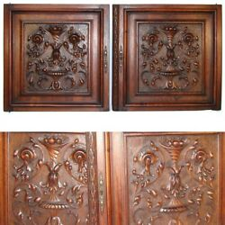 Pair Antique Victorian 25x25 Carved Wood Architectural Furniture Door Panels