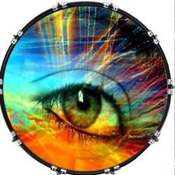 Custom 22 Kick Bass Drum Head Graphical Image Front Skin Eye Psychedelic