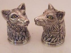 Fine Pair Of Solid Silver Novelty Dog Head Salt And Peppers