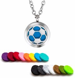 Essential Oil Diffuser Necklace Pendant Stainless Steel Aromatherapy Boys Soccer