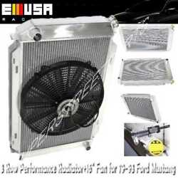 3 Row Aluminum Racing Radiator+16 Fans Fits 79-93 Ford Mustang Glx Lx Gt Svt