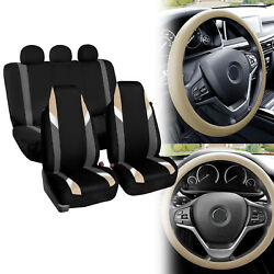 Supreme Modernistic Car Seat Covers Beige Black W/siicone Steering Wheel Cover