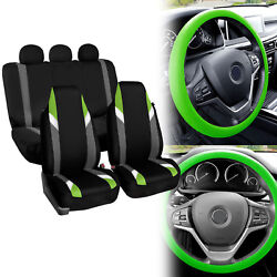 Supreme Modernistic Car Seat Cover Green Black W/ Silicone Steering Wheel Cover
