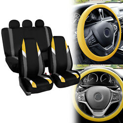 Supreme Modernistic Car Seat Covers Yellow Black W/silicone Steering Wheel Cover