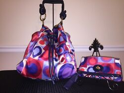 Coach Limited Edition Multi-color Signature Hobo W/ Matching Wristlet/wallet