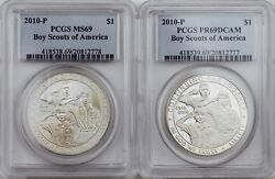 2010-p Boy Scouts Of America Centennial Silver Dollars Pcgs Pr69dc And Ms69