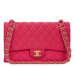 CHANEL FUCHSIA QUILTED BOUCLÉ FABRIC MEDIUM CLASSIC DOUBLE FLAP BAG  HB1314