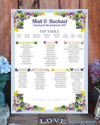 Personalised Table / Seating Plan - A1 A2 Or A3 - Flower Garden Iris Blue