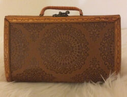 Vintage Handmade Carved Wooden Box Purse Double Handles Hook Lock Design!!